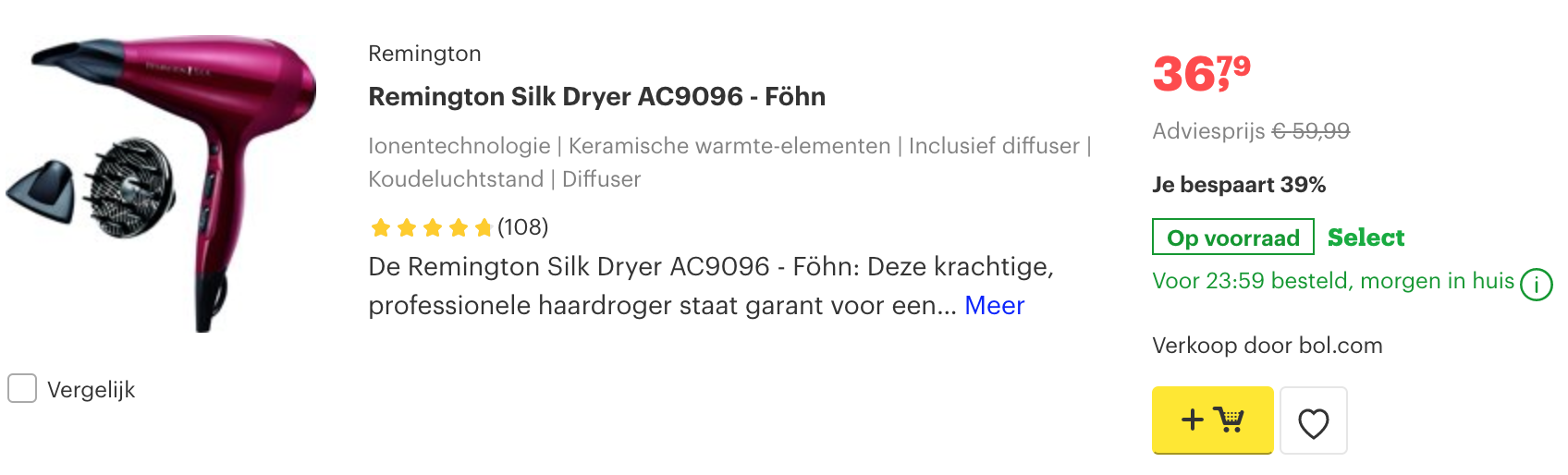 Remington Silk Dryer AC9096 - Föhn krullend haar